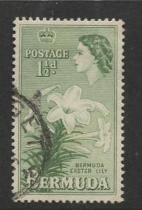 Bermuda - Scott 145 - QEII-Definative-1953 - VFU - Single 1.1/2d Stamp
