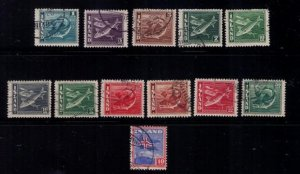 Iceland Scott #217-228 Used A Complete Set Very FineCodfish ,Herring,Flag VF
