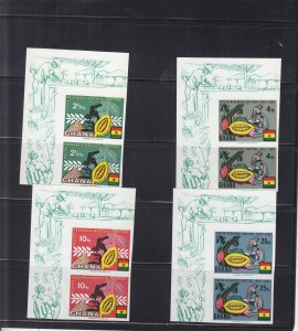1968, Ghana: Sc #323-326, Cocoa Production, Imperf Pairs, MNH (S18147)