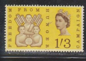 GREAT BRITAIN Scott # 391 MNH - Freedom From Hunger - Corner Crease