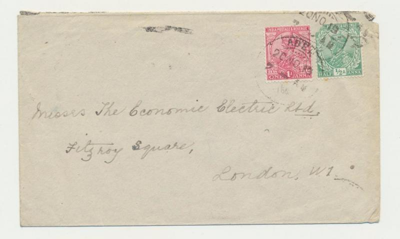 ADEN - UK 1919 COVER TO LONDON, 1½a RATE