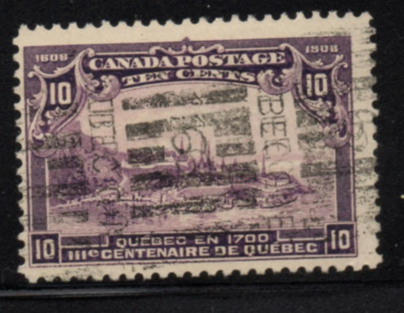 Canada Sc 101 1908 10c view of Quebec stamp used