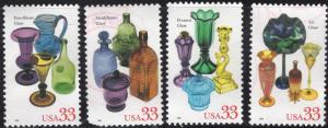 United States 3325-28 - Used  - 33c American Glass (1999) (cv $2.30) (3)