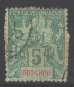 Indo-China SG23, 1892 Type Sage 5c used