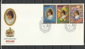 Belize, Scott cat. 618-620. Diana`s Birthday, Gold Frame. First day cover. ^