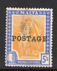 Malta #128 Kiss Double Overprint Variety Used b506