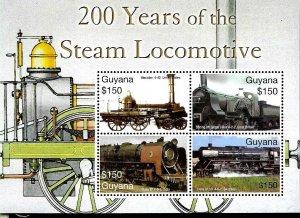#20158 GUYANA 2004 TRAINS 200 YEARS STEAM LOCOMOTIVE MS YV 5770-3 MNH