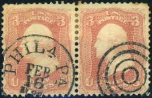 U.S. #64b Used Pair with Weiss Cert Cat$300+