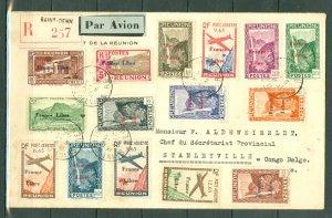 REUNION 1944 RARE FRANCE LIBRE REGST. AIR COVER TO BELGIAN CONGO..INCL. #180