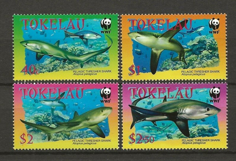 Tokelau MNH 308-11 Sharks WWF Marine Life 2002