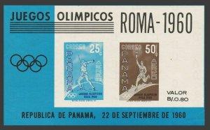 Panama C237a sheet,MNH.Michel Bl. 8Olympics Rome-1960.Javelin thrower,Torch.