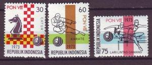 J25051 JLstamps 1973 indonesia set mnh #847-9 chess