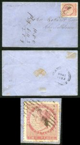 PRINCE EDWARD Is SG22 1862 2d rose perf compound of 11 and 11.5-12 on Cover