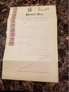1898 Mexico Gold Mine Deed Signed by President Porfirio Diaz Revenue Stamp Cover