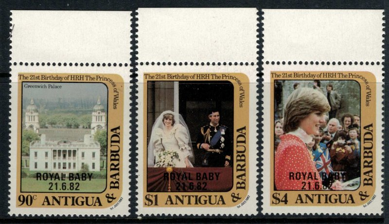 Antigua #672-5* NH  CV $6.25 Royal Baby overprints cplt. Set & S.Sheet