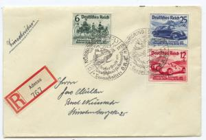 1939 Overprinted Car Racing Set  on R-Cover Special Cancel, backstamped, , VF ++
