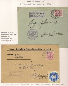 Germany Deutschland PRUSSIA 1903 Census Two Covers FREI Schulinspektion Zu Soest