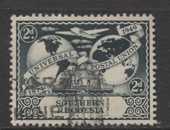 Southern Rhodesia- Scott 71 - UPU - 1949 - Used - Single 2d Stamp