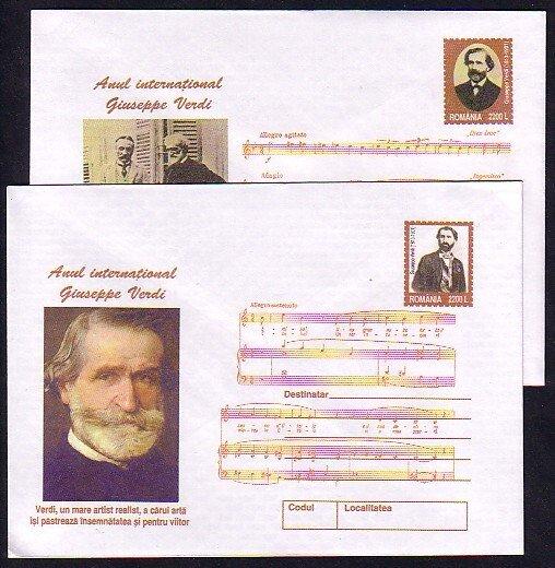 Romania, 2001 issue. 025-026/2001. Composer Verdi on 2 Postal Envelopes. ^