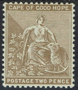 CAPE OF GOOD HOPE 1882 HOPE SEATED 2D WMK CROWN CA