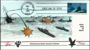 Dynamic Pugh Designed/Painted Allied Battle U-Boats FDC...134 covers Created!