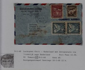 Chile/Netherlands airmail cover 9.1.40