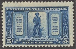 US 619 MNH VF 5 Cent Dark Blue Lexington-Concord Issue