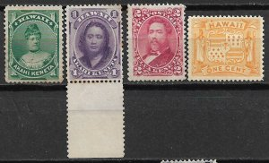 COLLECTION LOT OF 4 HAWAII 1886+ STAMPS UNUSED NO GUM
