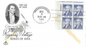 #1038, 5c James Monroe, Art Craft, plate block of 4