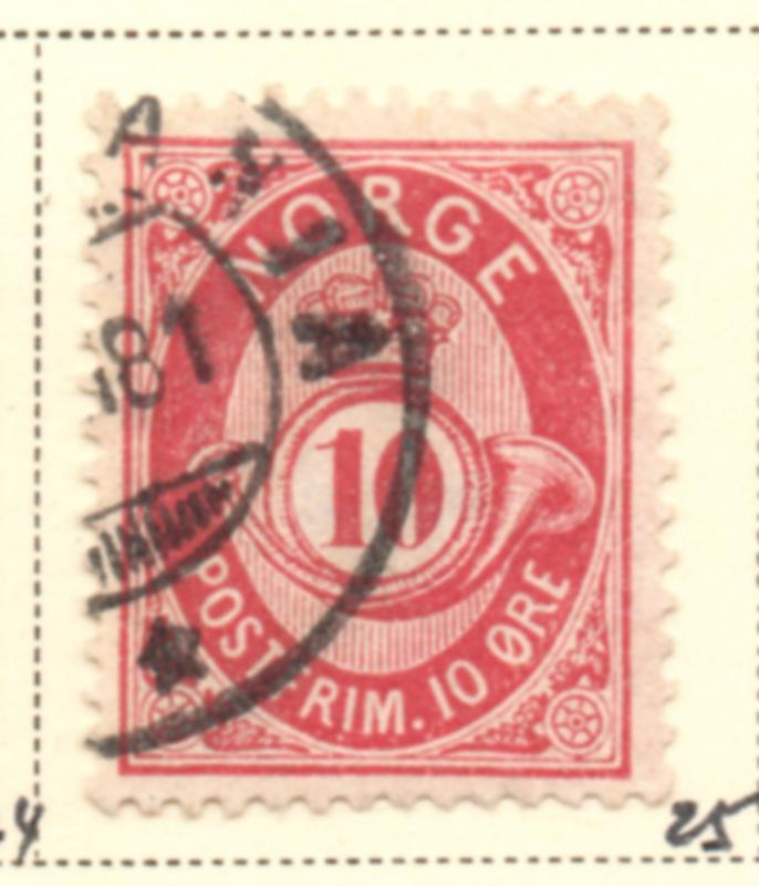 Norway Sc 25 1877 10 ore rose Post Horn stamp used