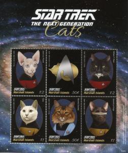 Marshall Islands Star Trek Stamps 2018 MNH Next Generation Cats Picard 6v M/S I