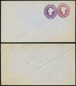 ESC360 QV 2d Lake and 6d Violet Stamped to Order Envelope Mint