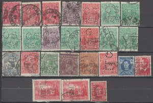 COLLECTION LOT OF #995 AUSTRALIA 25 PERFIN STAMPS 1913+ CLEARANCE 2 SCAN