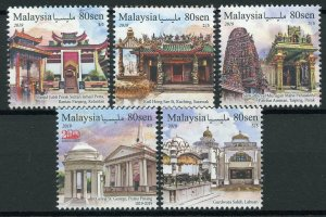 Malaysia 2019 MNH Places of Worship 5v Set Churches Temples Architecture Stamps