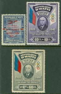 EDW1949SELL : HAITI 1933-39 Scott #C4A, CB1-2 Very Fine, Mint OG. Catalog $125.