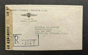 1945 Quito Ecuador Dodge Automobiles Registered Censored Cover to Detroit MI