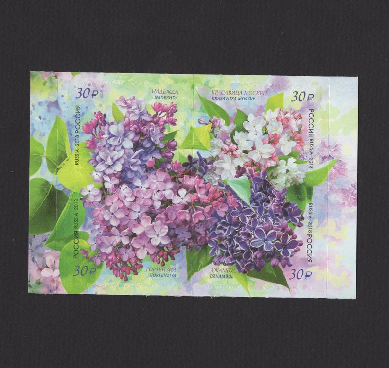 Russia 2018 Block Russian Flora Lilac Flowers Plant Nature