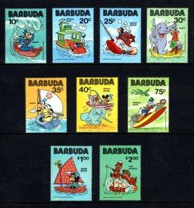 BARBUDA - 1981- DISNEY - MICKEY - DONALD - GOOFY + SAIL BOATS - TUG ++ MINT SET!