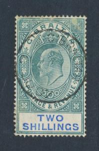 GIBRALTAR 1905, 2sh WMK MCA, VF USED SG#62 CAT£140 $185 (SEE BELOW)