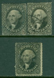 EDW1949SELL : USA 1857 Scott #36. 3 stamps. Used. Light cancels. Catalog $900.00