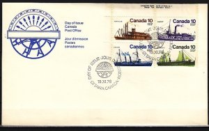 Canada, Scott cat. 700-703. Inland Ships issue. First day cover. ^