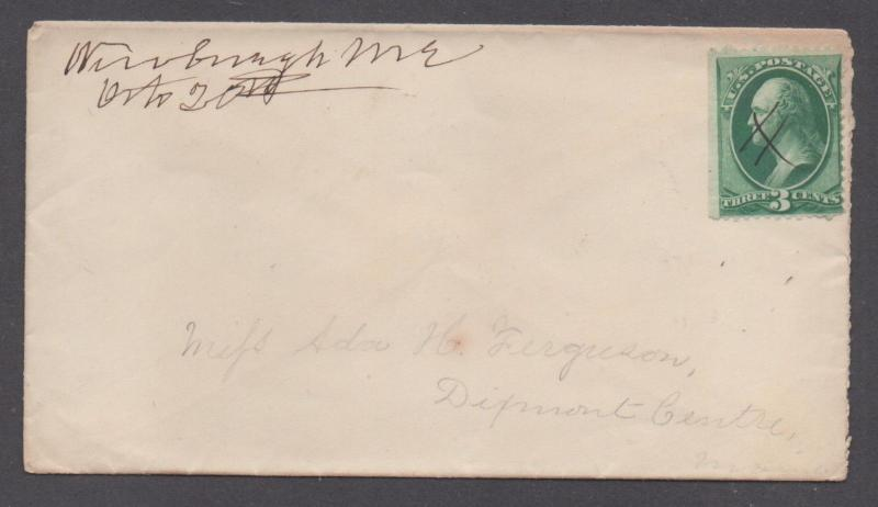 **US 19th Century Cover, Newburg, ME, M/S Cancel  DPO2 To MA
