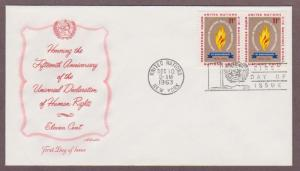 UN # 122 , 15th Anniversary Human Rights Pair on Artmaster FDC - I Combine S/H