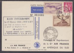 France Sc 250/C7 on 1935 First Non-Stop Flight PPC, Marseille to South America