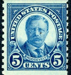#602 – 1924 5c Theodore Roosevelt, dark blue.  MNH OG.