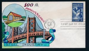 U.S. 1090 Wm. Wright hand painted FDC,Steel, bridge