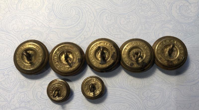 Lot of 7 Antique Post Office Department POD Uniform Buttons 5 Coat and 2 Cuff