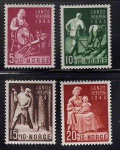 Norway Scott B38-41 MNH** 1944 semi-postal ink offset in gum of low value