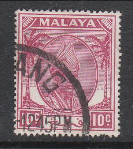 Malaya Pahang 1950 Sc 56 10c Used