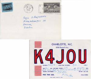 Airmail Issues 10c Plane Over Pan American Union 1956 Charlotte, N.C. QSL K4...